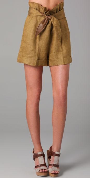Tibi Herringbone Shorts with Leather