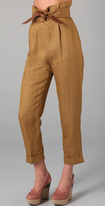 Tibi Capri Pants with Leather