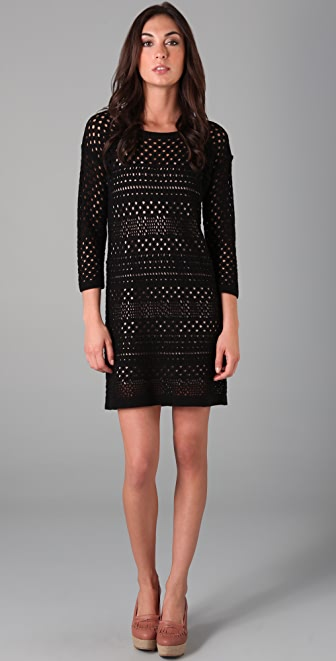 Tibi Crochet 3/4 Sleeve Dress