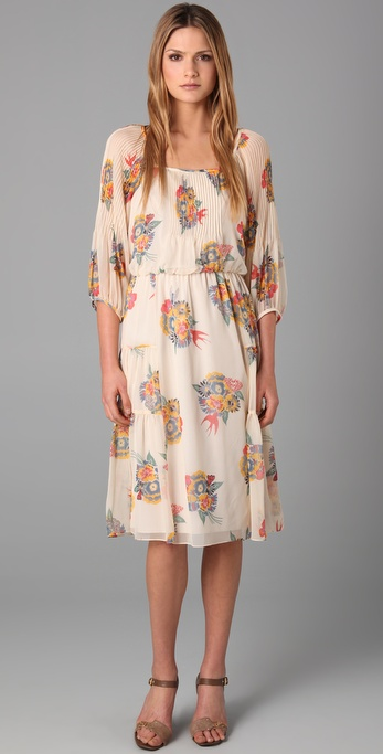 Tibi Deco Bouquet Print Dress