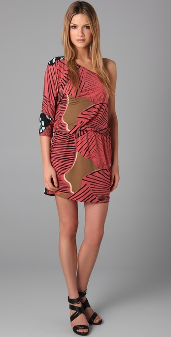 Tibi One Shoulder Print Dress