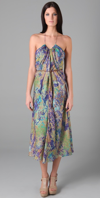 Tibi Print Long Halter Dress