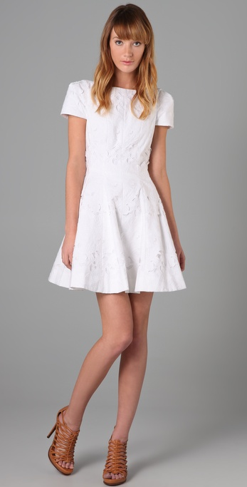 Tibi Eyelet Cap Sleeve Dress