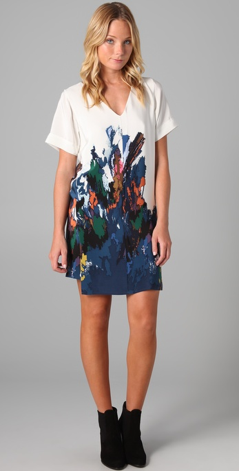 Tibi Aurora Print Shift Dress