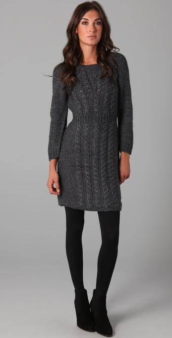Tibi Cable Knit Sweater Dress