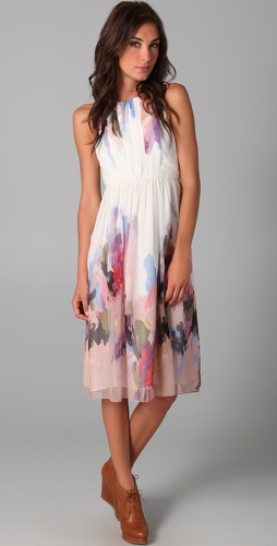 Tibi Aurora Print Sleeveless Dress
