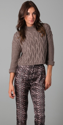 Tibi Long Sleeve Cropped Sweater
