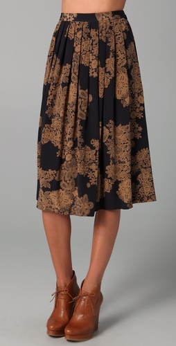 Tibi Normandy Pleated Skirt
