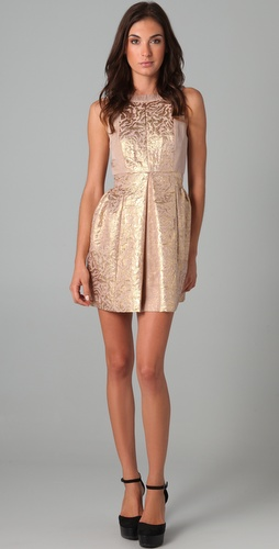 Tibi Metallic Jacquard Sleeveless Dress