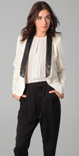 Tibi Tuxedo Blazer with Leather Lapel