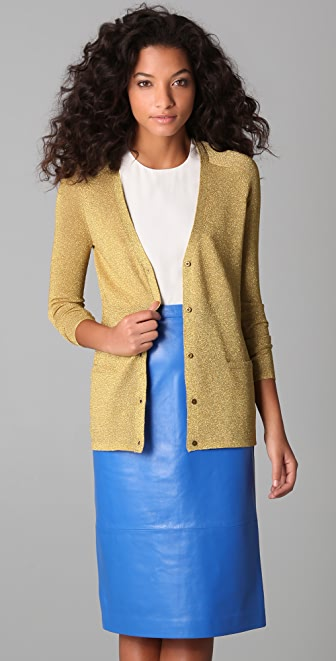 Tibi Metallic Cardigan Sweater