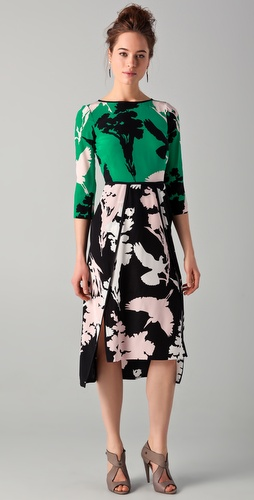 Tibi Fern Print Long Sleeve Dress