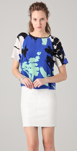 Tibi Fern Print Tie Back Top
