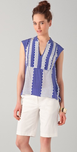 Tibi Pleated Tile Print Top