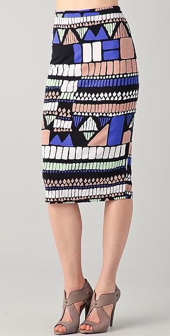 Tibi Geo Printed Pencil Skirt