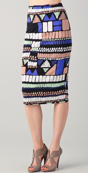 Tibi Geo Printed Pencil Skirt