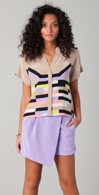 Tibi Arizona Print Draped Blouse