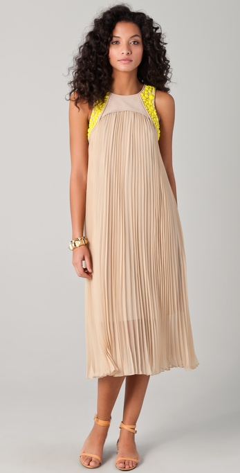 Tibi Pleated Midi Dress with Beading