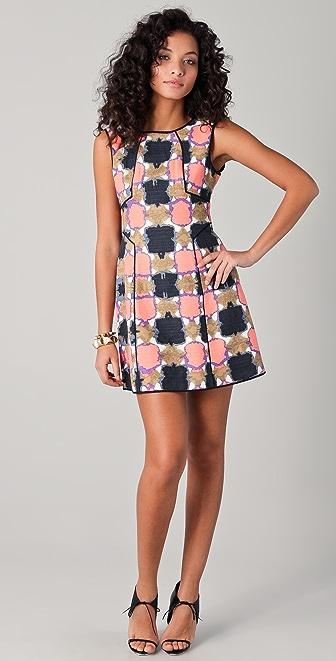 Tibi Gemma Print Paneled Dress
