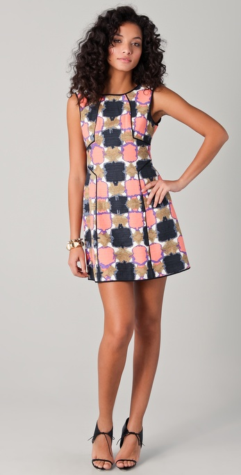 Tibi Gemma Print Paneled Dress