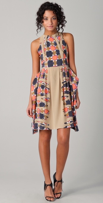Tibi Geneva Print Draped Dress