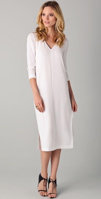 Tibi V Neck Slit Midi Dress