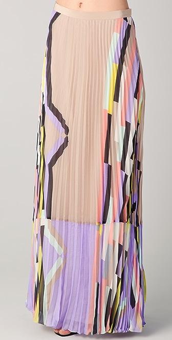 Tibi Arizona Print Pleated Maxi Skirt