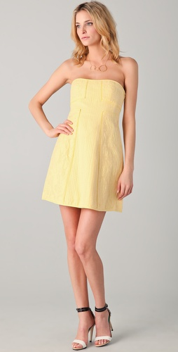 Tibi Jacquard Strapless Dress