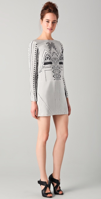 Tibi Print Eyelet Shift Dress