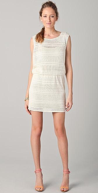 Tibi Patchwork Open Knit Sleeveless Dress