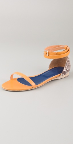 Tibi Amber Snakeskin Flat Sandals