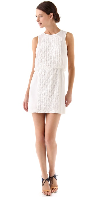 Tibi Pyramid Embroidery Sleeveless Dress