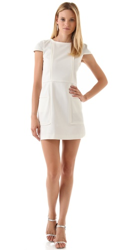 Tibi Ponte Cap Sleeve Dress