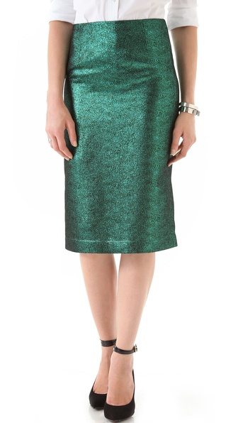 Tibi Lurex Pencil Skirt