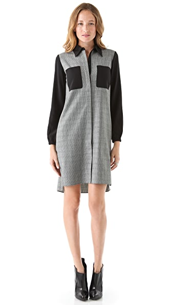 Tibi Glen Plaid Shirtdress