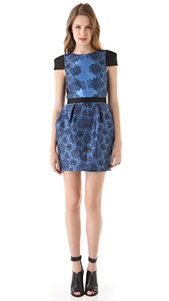 Tibi Natalia Cap Sleeve Dress