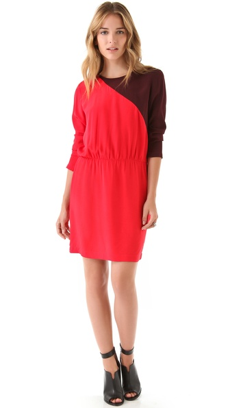 Tibi Colorblock Long Sleeve Dress