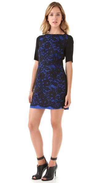 Tibi Lace Short Sleeve Dress