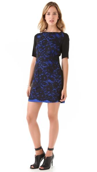 Tibi Lace Short Sleeve Dress