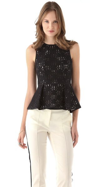 Tibi Jules Lace Peplum Top