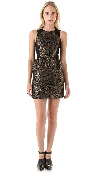 Tibi Foil Lace Peplum Dress