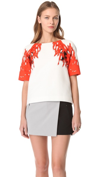 Tibi Coral Print Top