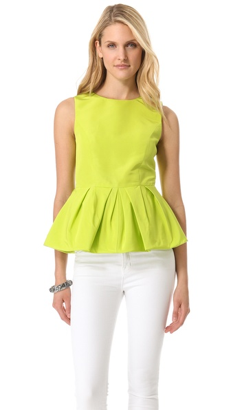 Tibi Faille Peplum Shell