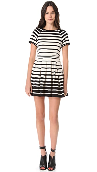 Tibi Variegated Stripe Pleated Dress