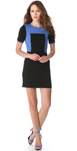 Shop Tibi Colorblock Dress with Short Sleeves and Tibi online - Apparel, Womens, Dresses, Day_to_Night,  online Store