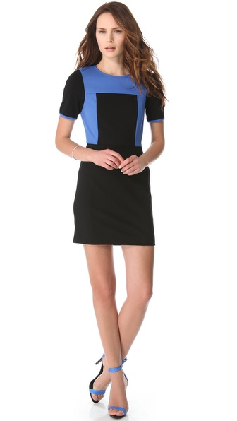 Tibi Colorblock Dress with Short Sleeves