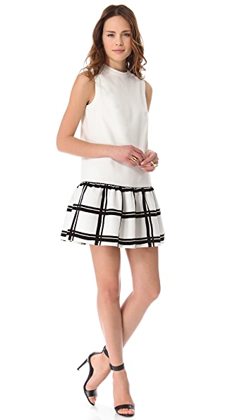 Tibi Drop Waist Checker Dress