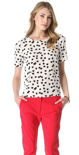 Shop Tibi Scattered Hearts Silk Tee and Tibi online - Apparel,Womens,Tops,Blouse, online Store