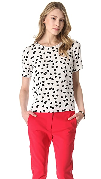 Tibi Scattered Hearts Silk Tee