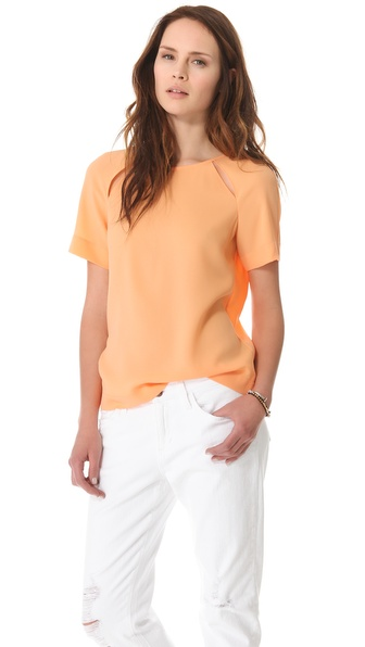 Tibi Alison Crepe Peekaboo Top
